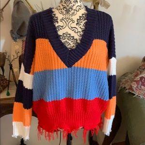 Soft Multi Colored Frayed V Neck Sweater